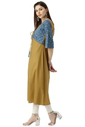 Womens Cotton Solid A-line Kurta With Ethnic Jacket