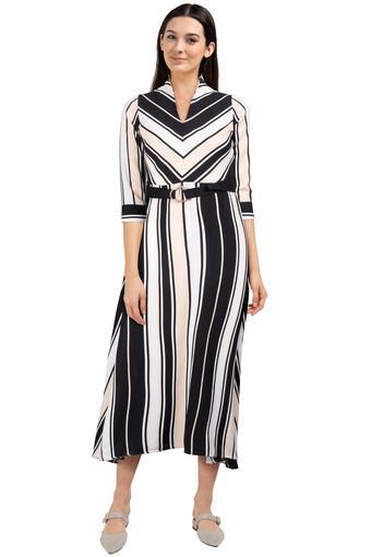Womens V Neck Striped Calf Length Dress