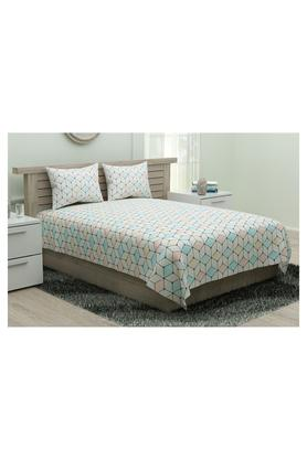 SPACESGeometric Printed King Bed Sheet With Pillow Cover