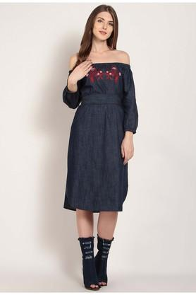 Womens Off Shoulder Embroidered Midi Dress