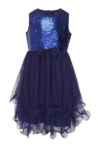 Girls Round Neck Sequined Layered Dress