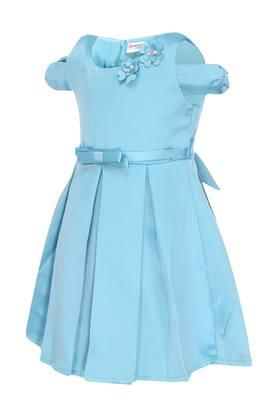 Girls Round Neck Solid Flared Dress