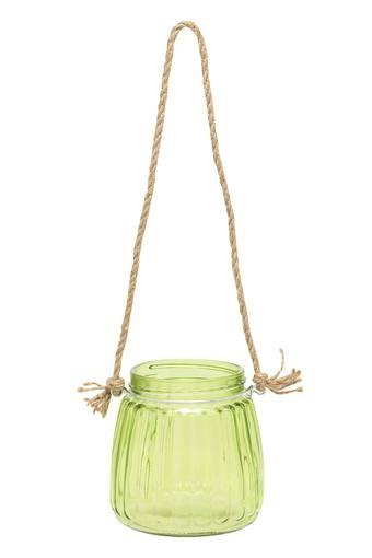 Hanging Glass Votive - Green