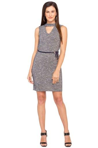 Womens Band Neck Slub Bodycon Dress