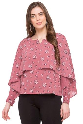 Womens Notched Collar Floral Print Top