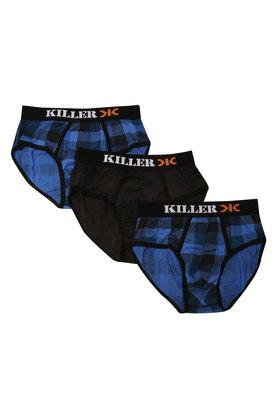 KILLER Mens Check And Solid Briefs Pack Of 3
