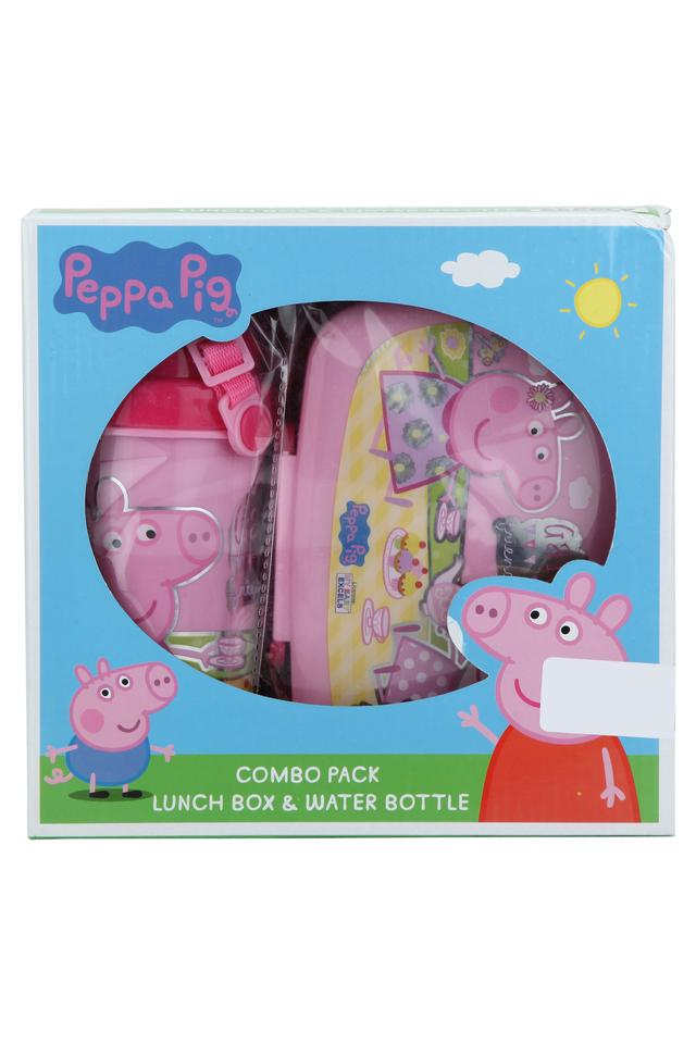 Kids Peppa Pig Print Lunch Box and Water Bottle Combo Set