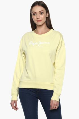 PEPEWomens Round Neck Solid Sweatshirt