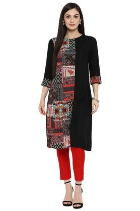 JUNIPER Womens Rayon Printed A-Line Kurta With Front Slit