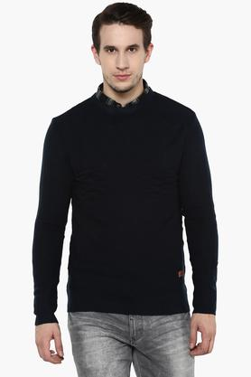 WROGNMens Round Neck Solid Sweater