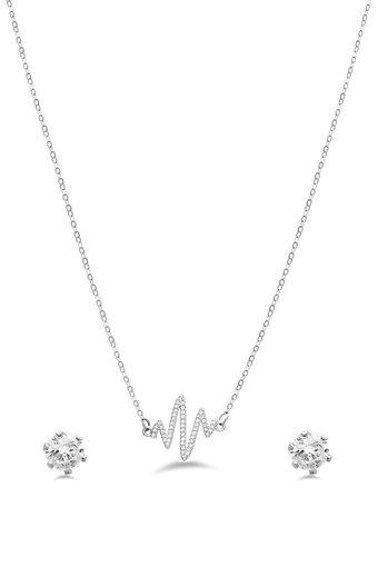 Womens Heart Pulse Silver Plated Set