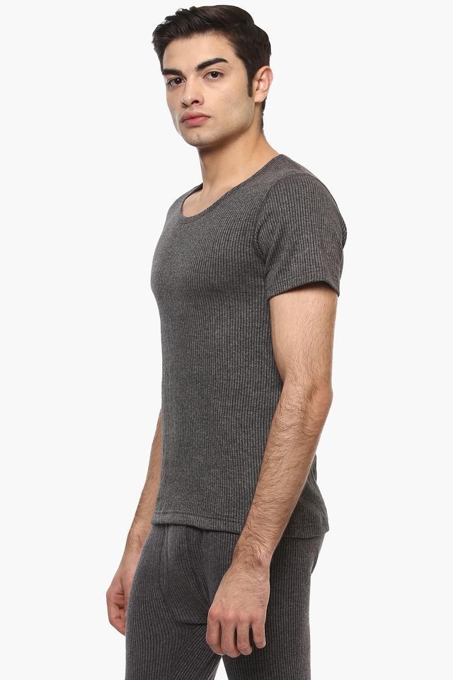Mens Round Neck Stripe Thermal