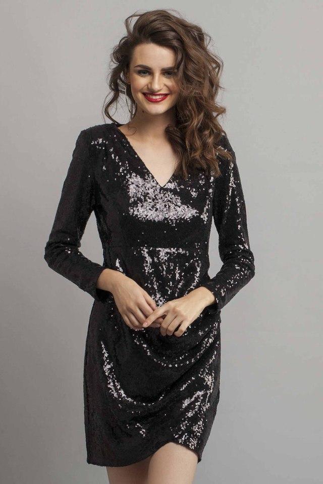 Womens V-Neck Embellished Sheath Dress