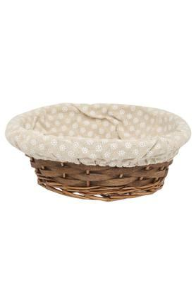 Oval Wooden Basket with Printed Cloth - 24 cms