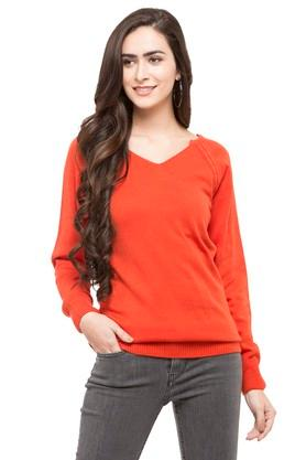 EXCLUSIVE LINES FROM BRANDS Womens V Neck Solid Sweater