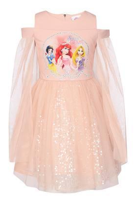 Girls Round Neck Printed Embellished Flared Dress