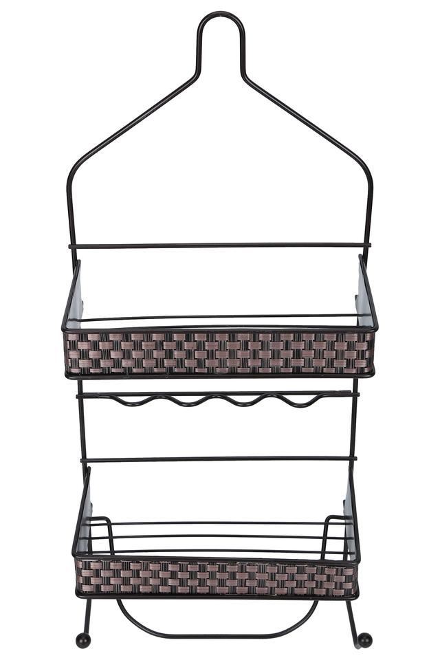 Metallic Basket Weave 2 Rack Shower Caddy