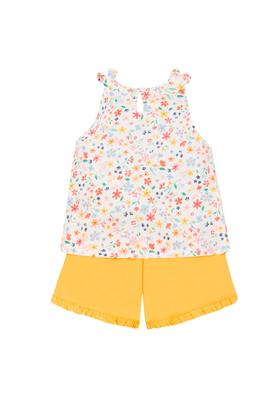 Girls Round Neck Flora Print Vest and Solid Shorts