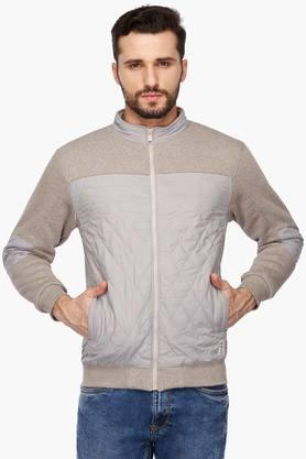 OCTAVE Mens Zip Through Neck Colour Block Sweatshirt