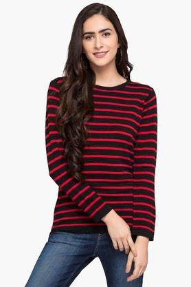 FEMINA FLAUNT Womens Round Neck Stripe Sweater - 203447912