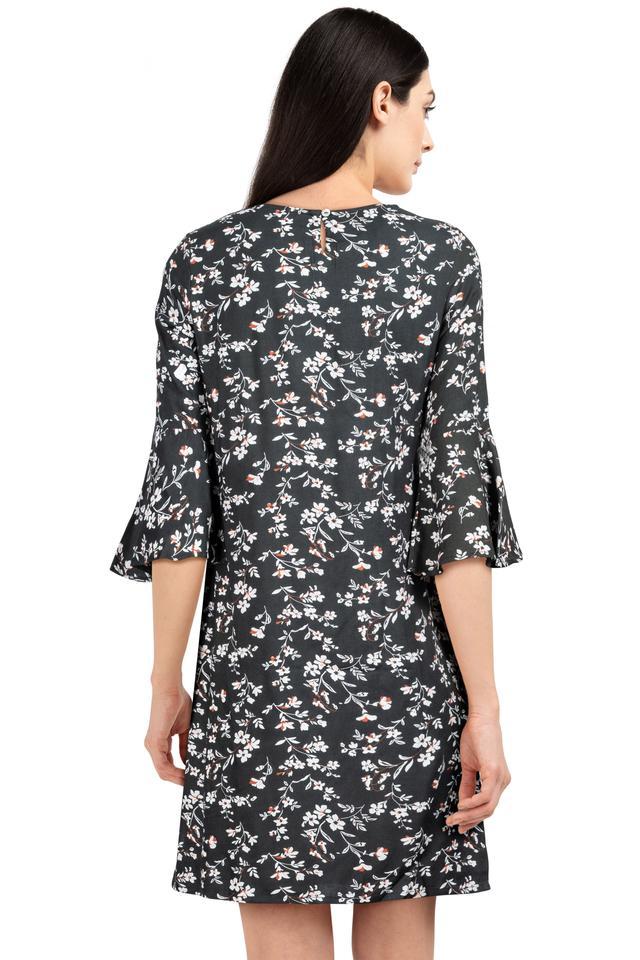 Womens Round Neck Floral Print Shift Dress