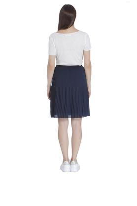 Womens Solid Pleated Skirt