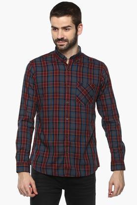 Mens Button Down Collar Checked Shirt