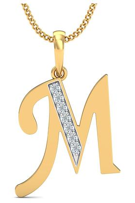 P.N.GADGIL JEWELLERS Womens The 'M' Diamond Pendant DJPD-80