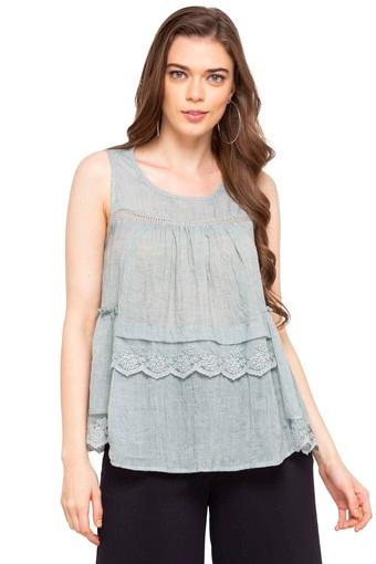 Womens Round Neck Slub Top