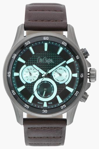 Mens Chronograph Green Dial Leather Watch - LC06540052