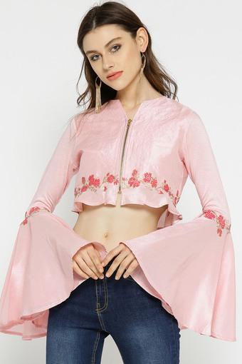 Womens Zip Through Neck Printed Jacket