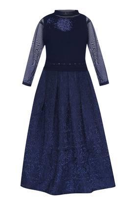 Girls Round Neck Self Pattern Pleated Maxi Dress