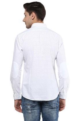 Mens Regular Fit Button Down Collar Dot Printed Shirt