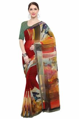 RACHNA Womens Color Georgette Printed Saree With Blouse - 204088378_7086