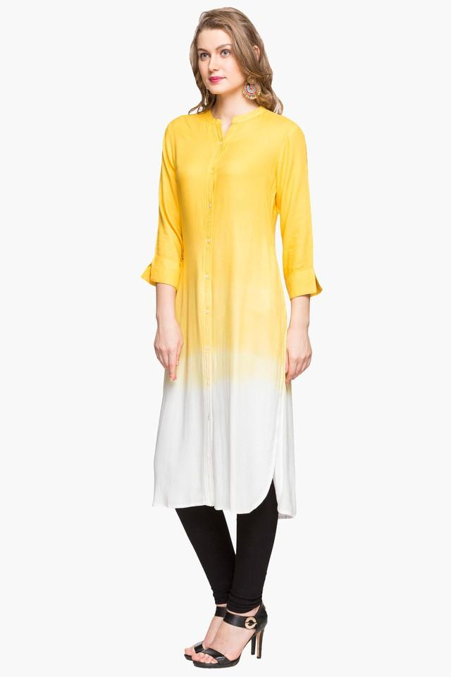 Womens Mandarin Neck Colour Block Kurta