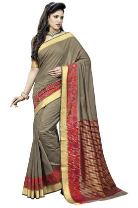 ASHIKA Plain Cotton Silk Saree With Blouse Piece - 204034546_8063