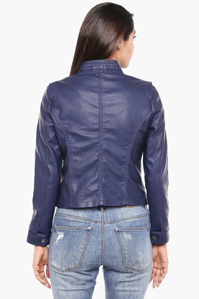 Womens Band Neck Solid Biker Jacket