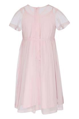 Girls Round Neck Embellished A-Line Dress