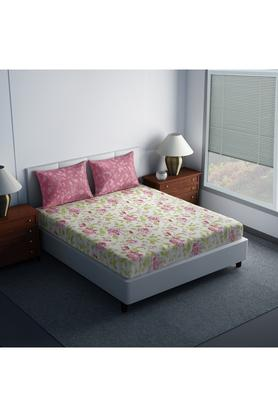 SPACESCotton Printed Double Bedsheet With 2 Pillow Covers - 203557285_9900