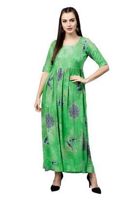 Womens Round Neck Printed Maxi Dress