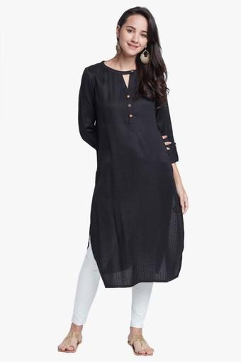 Womens Key Hole Neck Self Pattern Kurta