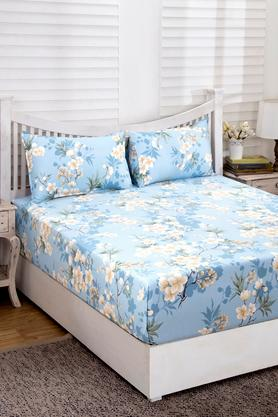 Essence Floral Clara Blue Printed Superfine Cotton 210 TC Double Bedsheet With 2 Pillow Covers