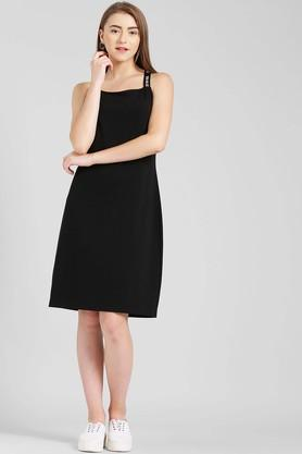 Womens Square Neck Solid Knee Length Dress