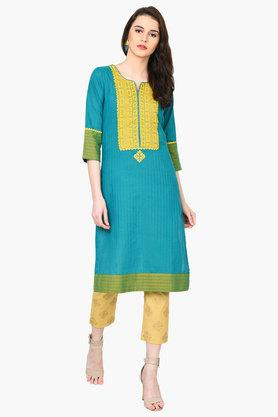 RANGRITI Womens Straight Poly Cotton Kurta - 203078210