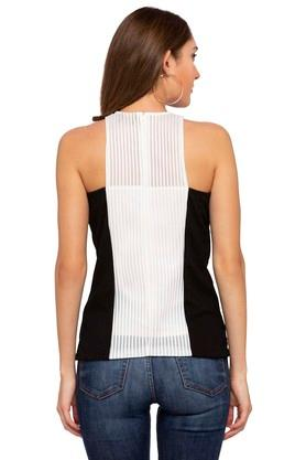 Womens Band Neck Colour Block Top