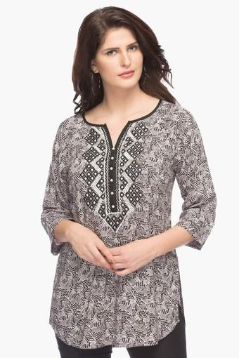 Womens Round Neck Embroidered Printed Top
