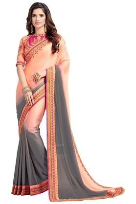 ASHIKA Plain Soft Silk Saree With Blouse Piece - 204034558_7086