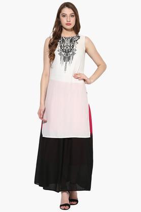 JUNIPERWomens Print High Low Kurta With Long Skirt