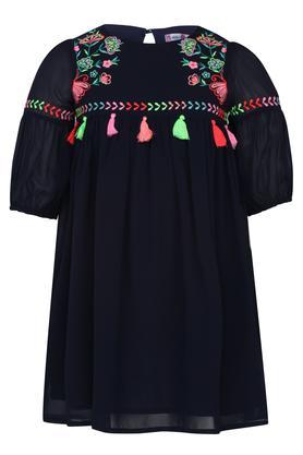Girls Round Neck Printed Knee Length Dress