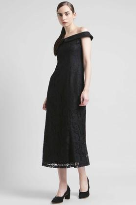 Womens Off Shoulder Lace Midi Dress